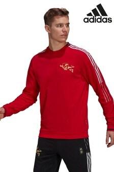 adidas レッド Manchester United クルーネック スウェットトップス