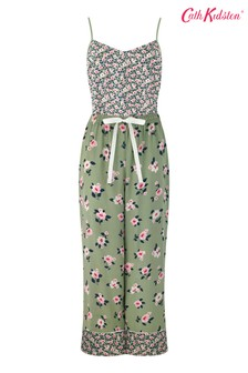 Cath Kidston Green Vest & Wide Crop Pyjama Set Small Dawn Floral