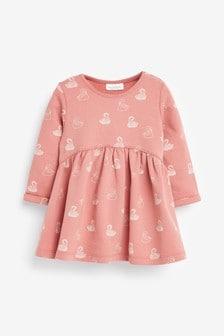 Rochie din jerseu cu imprimeu lebede (0 luni - 3 ani)