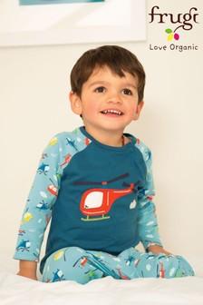 Пижама из органического хлопка с аппликацией в виде вертолета и принтом на штанах Frugi GOTS