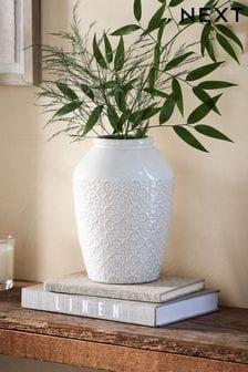 White Medium Tile Embossed Ceramic Vase