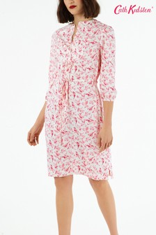 Cath Kidston® White British Birds Yoke Detail Dress