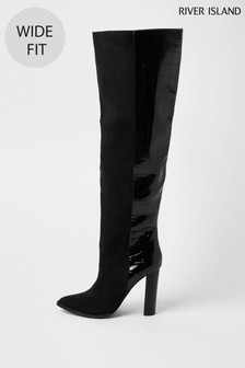 River Island Black High Wide Leg Boots