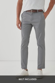 Belted Geo Print Chino Trousers