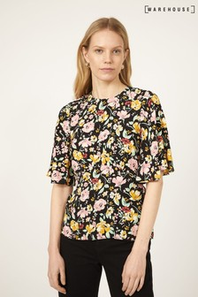 Warehouse Black Floral Angel Sleeve Top