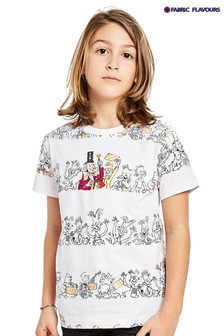 Fabric Flavours White Roald Dahl Charlie Golden Ticket T-Shirt