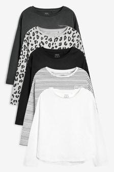 5 Pack Long Sleeve Mono T-Shirts (3-16yrs)