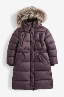 Длинная водоотталкивающая дутая куртка с искусственным мехом (3-16 лет)
