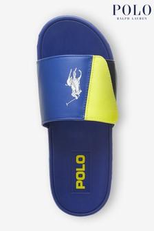 شبشب Leary بشعار أصفر وأزرق ألوان سادة من Ralph Lauren