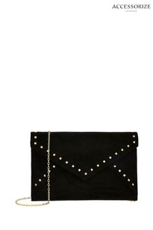 Accessorize Black Petra Studded Envelope Clutch