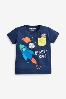 Tričko s krátkymi rukávmi a raketou na vrecku (3 mes. – 7 rok.)