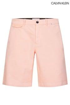 Calvin Klein Slim Fit-Chinoshorts mit Garnfärbung, Pink
