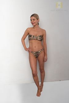 West Seventy Nine Floral Leopard Sanddancer Bandeau Bikini Top