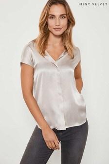 Mint Velvet Natural Oyster Silk Satin Front T-Shirt