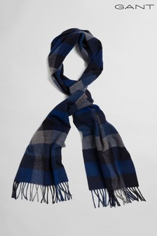 GANT Blue Multi Check Wool Scarf