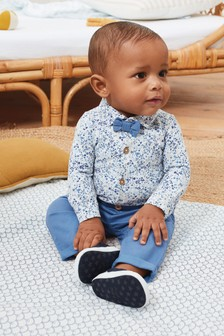 Smart Floral Bodysuit, Chinos And Bow Tie Set (0mths-2yrs)