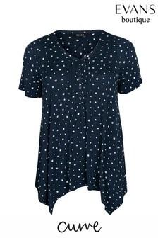חולצה של Evans דגם Curve עם קפלים בהדפס לבבותבצבע כחול כהה