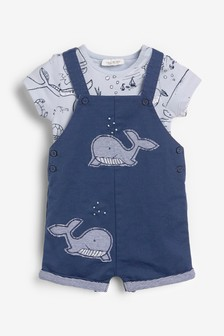 Whale Dungarees And Bodysuit Set (0mths-2yrs)