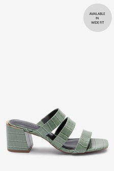 Strappy Block Heel Mule Sandals