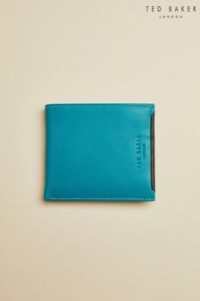 Portefeuille Ted Baker Casher bleu sarcelle en cuir avec deux compartiments