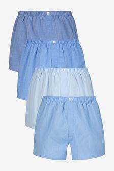 Lot de 4 boxers basiques unis tissés en coton pur