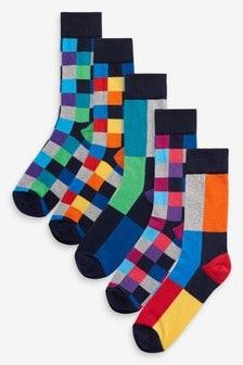 亮色補丁襪五雙裝