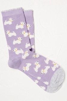 FatFace Lilac Westie Socks