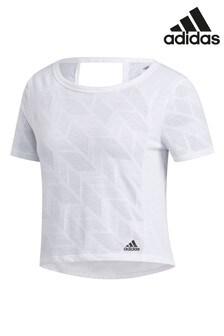 Белая футболкас выжженнымузором adidas