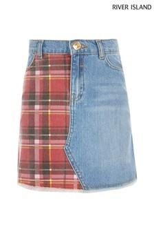River Island Red Check Denim Skirt