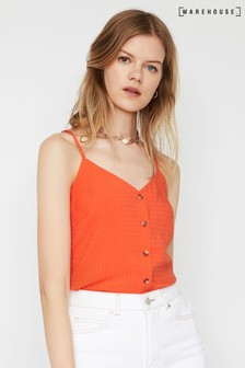 Warehouse Red Textured Button Cami Top