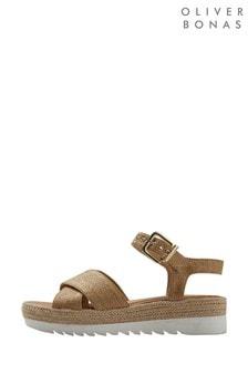 Oliver Bonas Natural Straw Espadrille Flatform Sandals