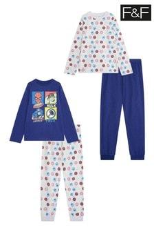 F&F Navy Marvel Pyjamas 2 Pack