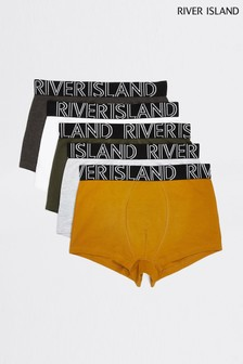 River Island Green Mustard Classic Hipster Five Pack