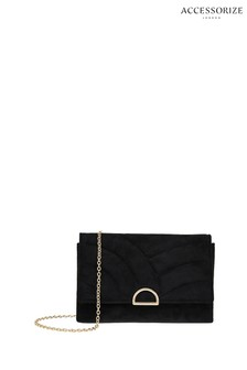 Accessorize Black Michelle Quilted Clutch