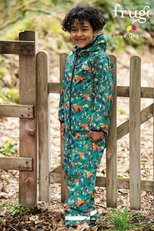 Frugi Blue Recycled Packaway Waterproof Cow Print Trousers