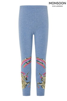 Monsoon Blue Rainbow Unicorn Leggings In Organic Cotton