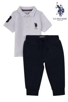 Biały komplet U.S. Polo Assn. z logo: koszulka polo i joggery