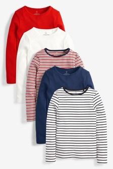 5 Pack Long Sleeve Rib T-Shirts (3-16yrs)