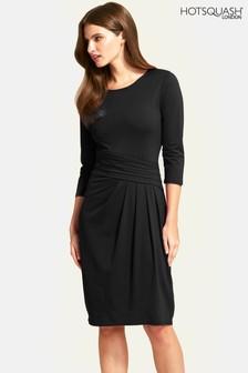 HotSquash Black Pleat Waist Dress