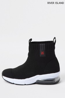 River Island Black Bubble Sock Hi Top Trainers