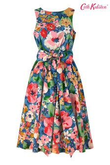 Cath Kidston® Blue Painted Bloom Tie Waist Dress