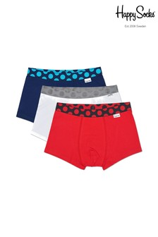 Happy Socks Red Mens Trunks Three Pack