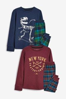 Kárované pyžamo s dinosaurom, 2 ks (3 – 16 rok.)