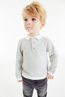 Textured Knitted Polo (3mths-7yrs)