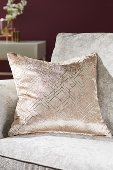 Metallic Velvet Geo Square Cushion