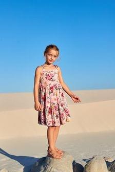 Gestuftes Kleid mit Print