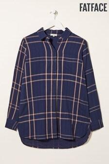 חולצה משובצת בגזרה ארוכה של FatFace דגם Thandie בכחול