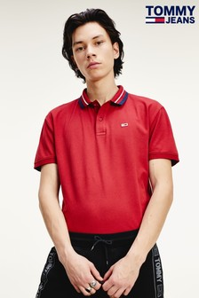 Tommy Jeans Red Classics Tipped Stretch Polo