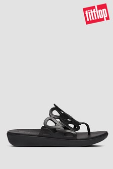 FitFlop™ Black Elodie Entwined Loops Leather Toe Post Sandals