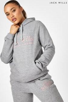 Jack Wills Grey Marl Hunston Embroidered Hoody